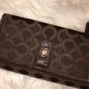 Coach Leather Fabric signature Wallet Good Cond